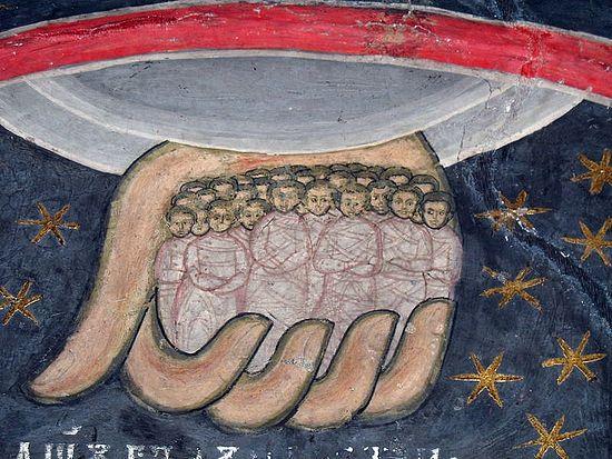 Души праведных в руке Божией. Фреска монастыря Сучевица,