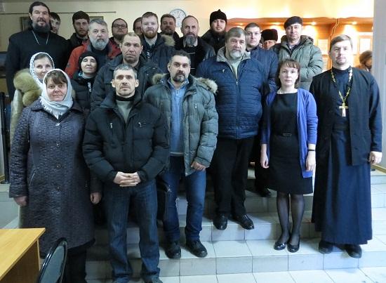 Студенты Царицынского Православного университета с преподавателем иеромонахом Климентом (Наумовым)