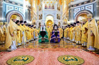 Служение Предстоятеля Иерусалимской и Русской Православной Церкви в храме Христа Спасителя