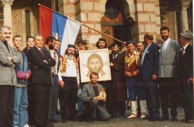 Горсть священной земли с Мамаева Кургана Патриарху Сербскому Павлу