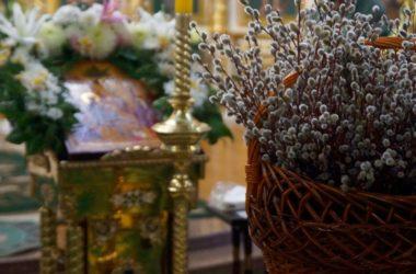 В Вербное воскресенье митрополит Феодор совершил Божественную литургию в Казанском кафедральном соборе