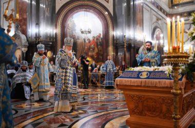 Святейший Патриарх Кирилл совершил утреню с чином Погребения Пресвятой Богородицы в Храме Христа Спасителя