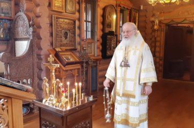 Патриарх Кирилл совершил Литургию в Александро-Невском скиту и вознес молитвы о жертвах ДТП