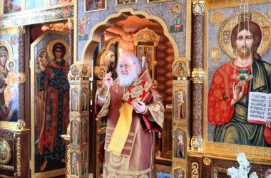 В праздник Собора новомучеников и исповедников Церкви Русской Патриарх Кирилл совершил Литургию в Александро-Невском скиту
