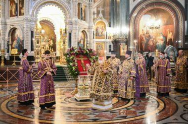 Святейший Патриарх Кирилл совершил всенощное бдение в Храме Христа Спасителя