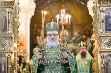 В праздник Входа Господня в Иерусалим Предстоятель Русской Церкви совершил Литургию в Храме Христа Спасителя